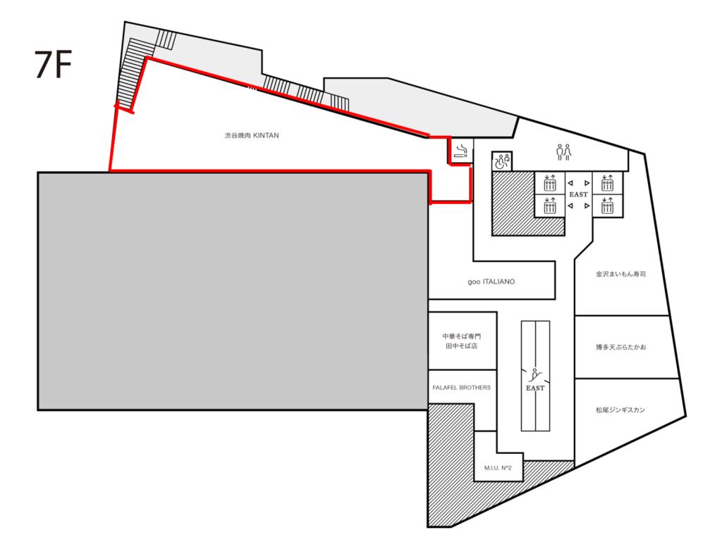 渋谷パルコ7階のフロアマップです。赤線で囲っているのが渋谷焼肉KINTANです。