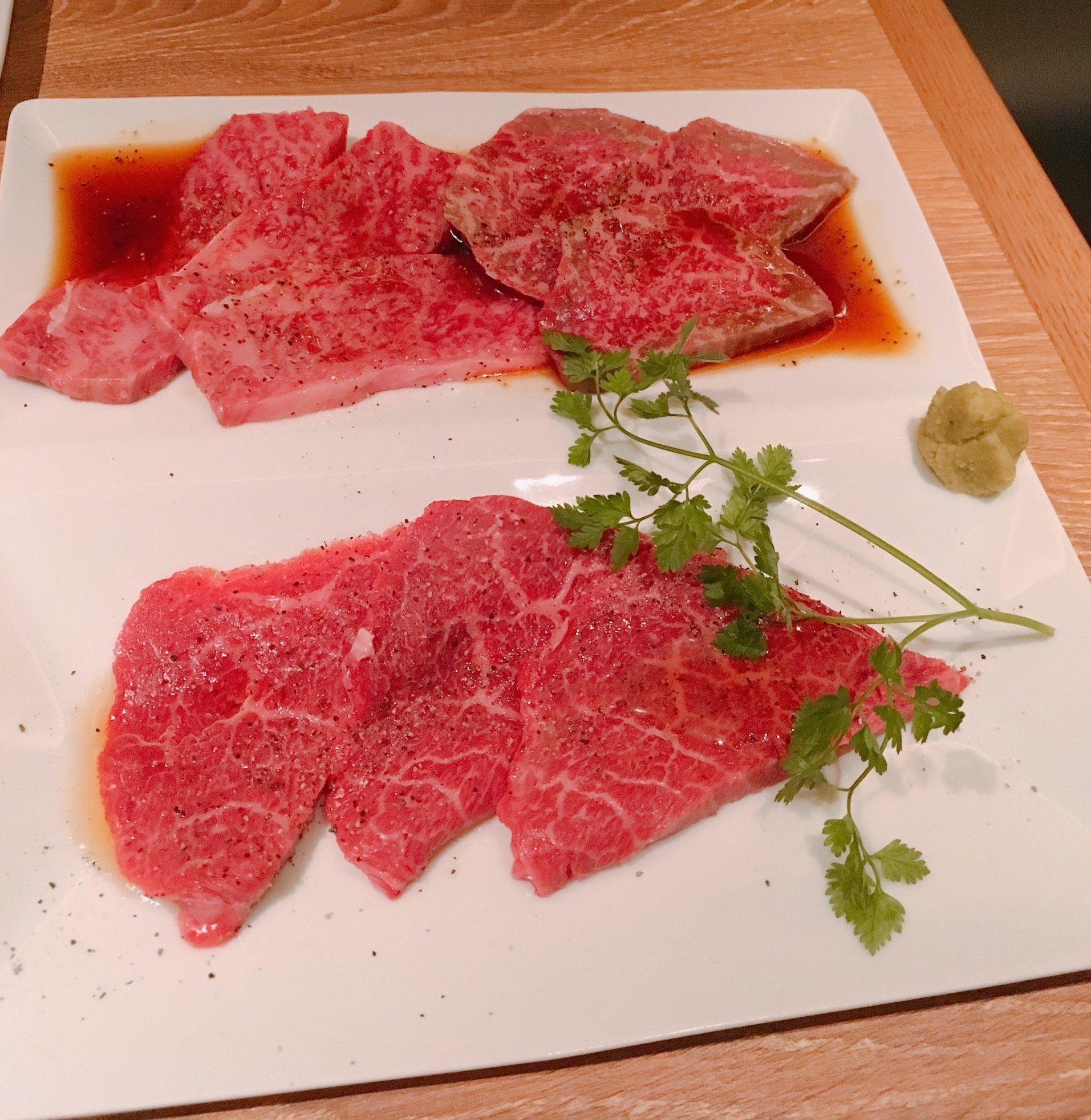 仙台牛赤身肉の3種盛り合わせの画像です。