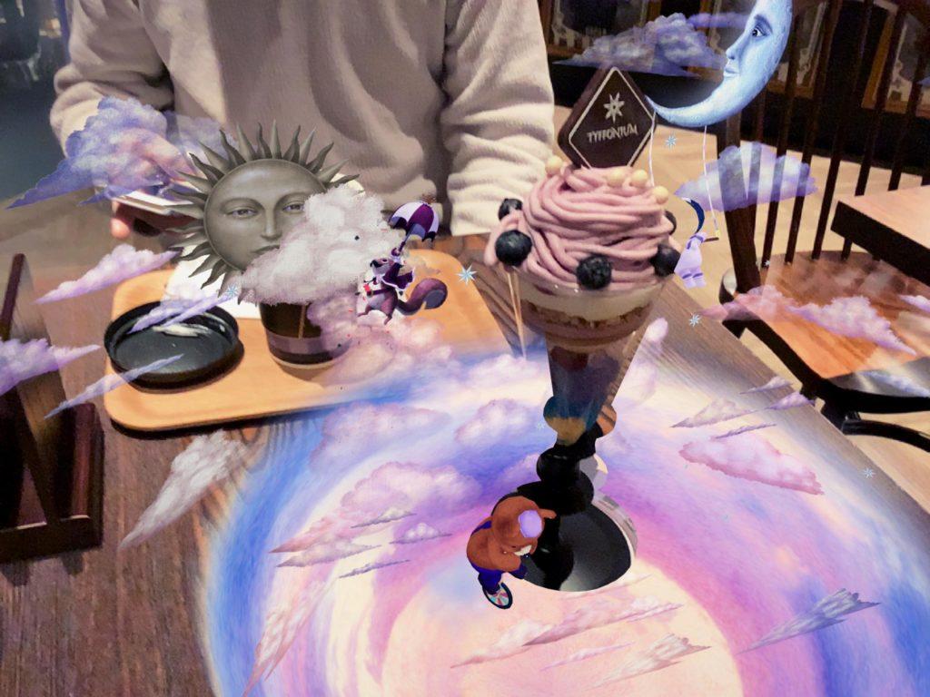 ティフォニウムカフェのAR動画(コースターにパフェを乗せたときのバージョン)