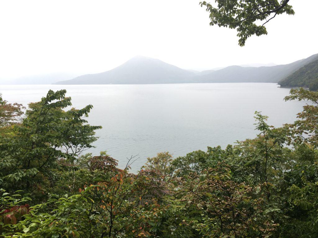 支笏湖の展望台からの眺め