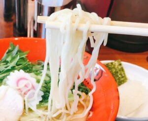 「博多鶏ソバ華味鳥新宿三井ビル店」の「華味鳥水炊きラーメン」の麺の写真