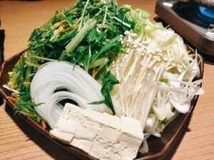 「品川 六献」のしゃぶしゃぶの野菜の写真